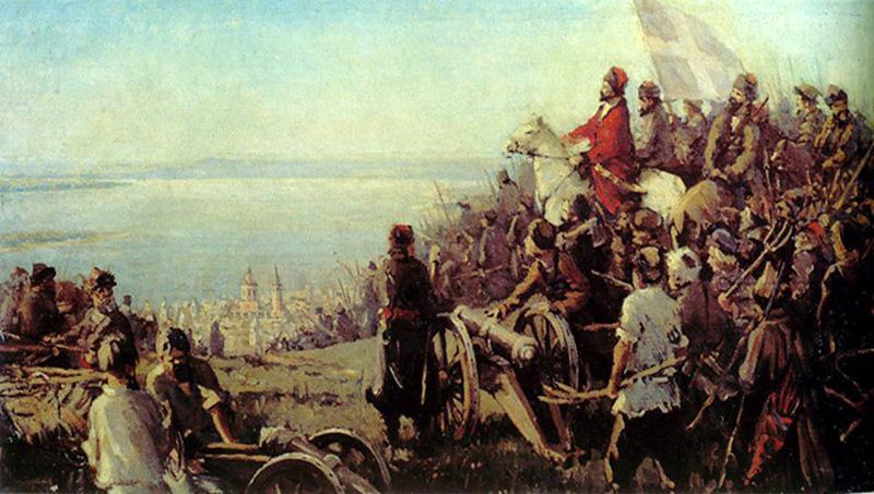 Пугачев на Соколовой горе. Картина Василия Фомичева. 1949 год