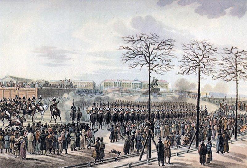 Восстание 14 декабря 1825 года на Сенатской площади. Рисунок Карла Кольмана. 1830-е годы