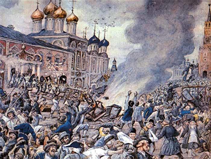 Чумной бунт. Картина Эрнеста Лисснера. 1930-е годы
